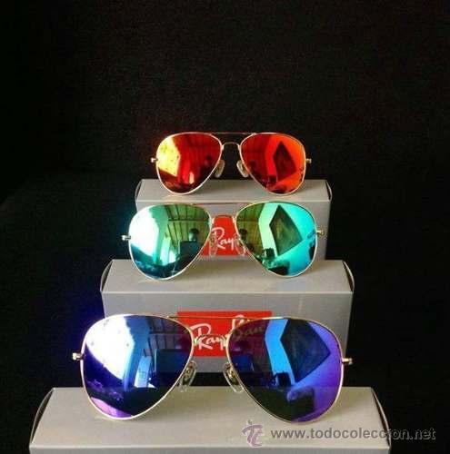 lentes ray ban aviator azul espejo