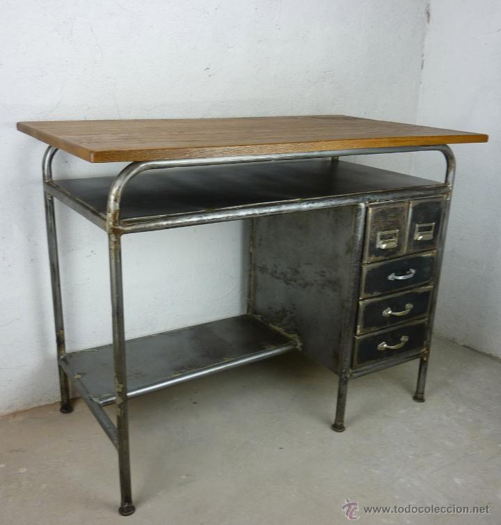 Antiguo escritorio mesa industrial en hierro ar comprar for Escritorio industrial vintage