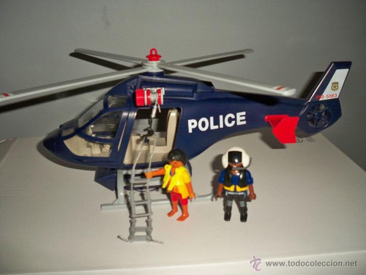 Helicoptero policia playmobil con foco led extr comprar for Helicoptero playmobil