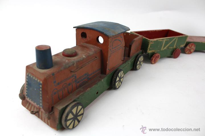 Antiguo tren de juguete en madera comprar en - Juguetes antiguos de madera ...