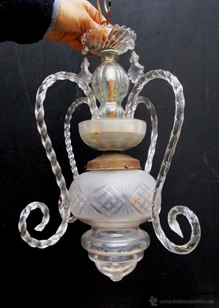 Elegantisima lampara antigua cristal de la gran comprar - Lamparas anos 20 ...