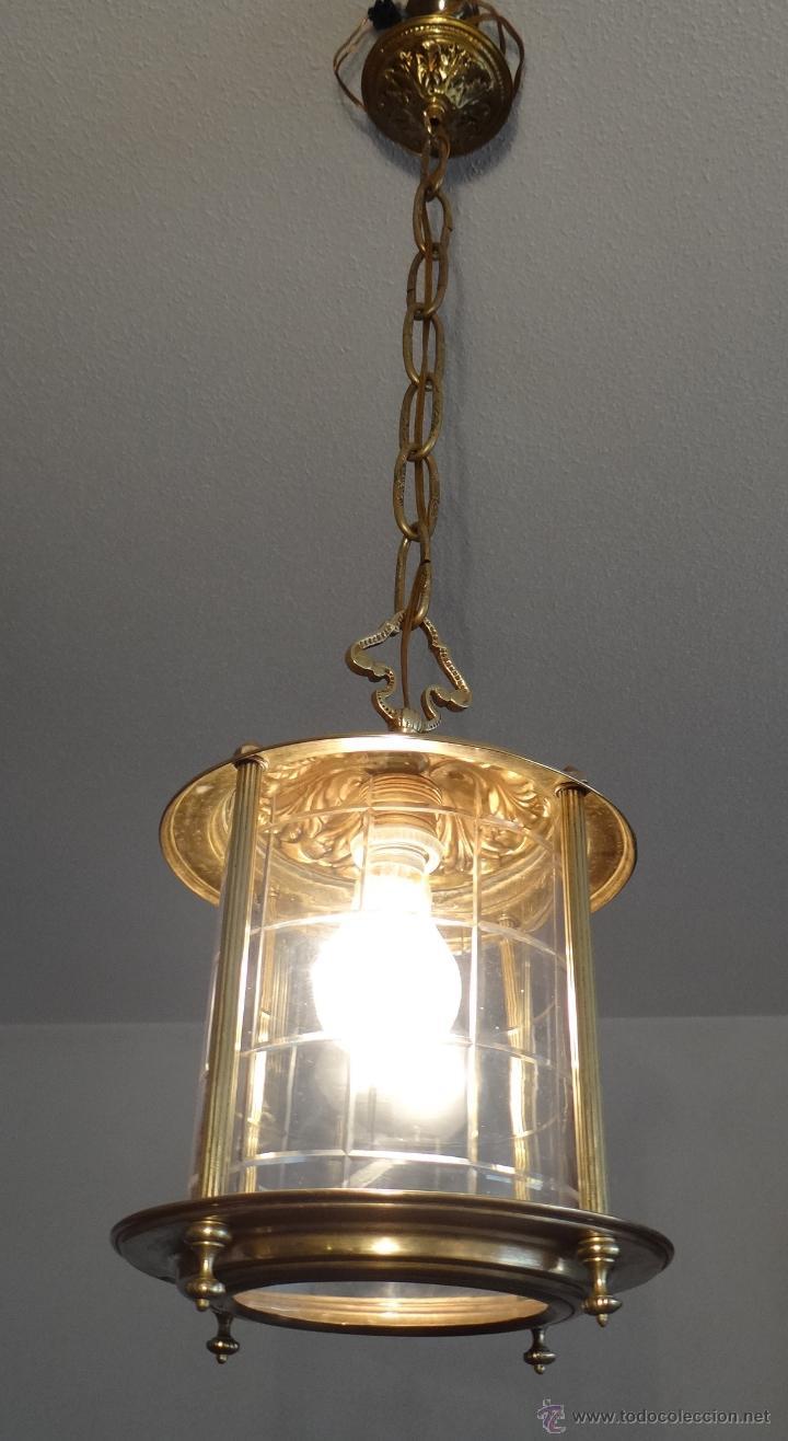 Antigua lampara de farol de laton y cristal tal comprar - Lamparas de cristal antiguas ...