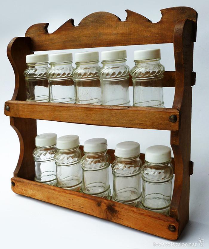 Antiguo mueble estante especiero de cocina para comprar for Muebles antiguos de cocina de madera