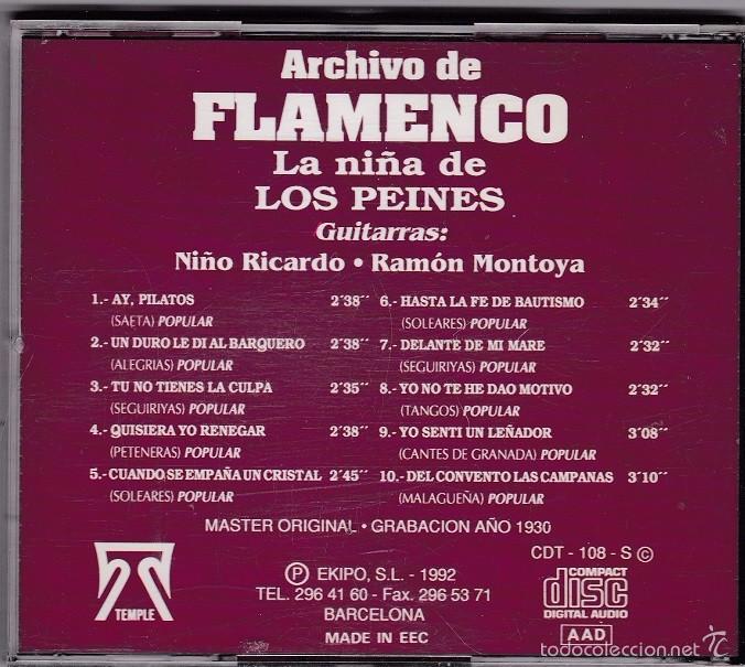 la niña de los peines - archivo flamenco - con - comprar cds de