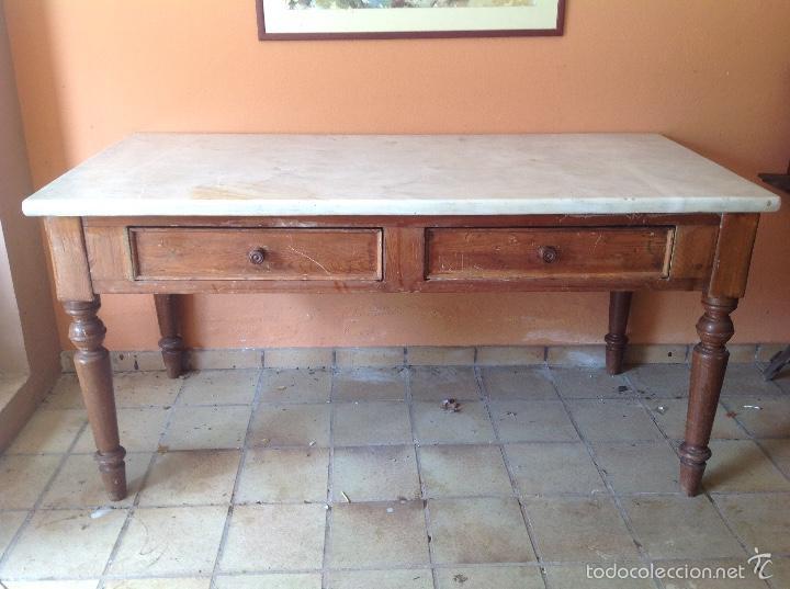 Mesa de trabajo antigua de cocina con m rmol comprar - Mesas antiguas de cocina ...