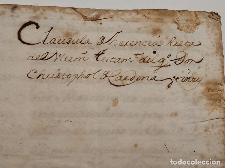 Manuscrito clausula herencia Cristóbal Cardona