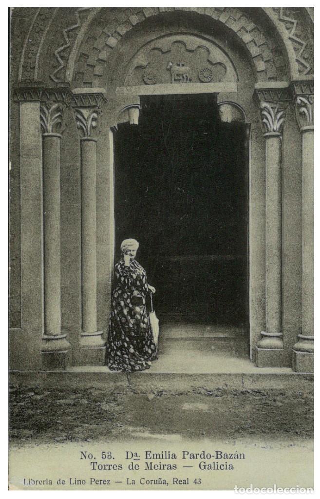 Postal de Emilia Pardo Bazán en las Torres de Meiras (Galicia)