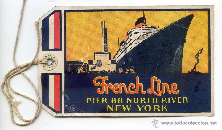 Etiqueta de viaje transatlántico estilo Art Decó