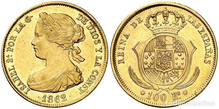 Moneda de Isabel II. 100 Reales (1862)