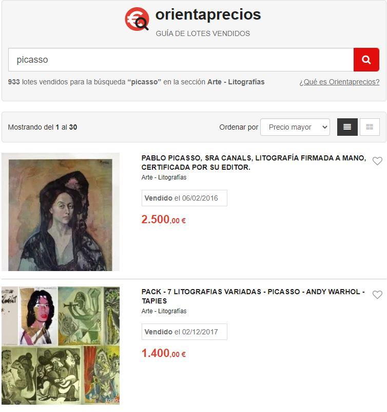 Orientaprecios litografía Picasso