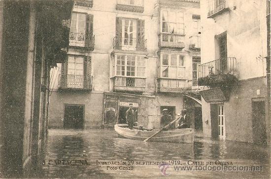 Postal de las inundaciones de Cartagena en 1919
