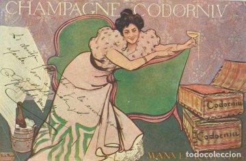 Postal de Ramón Casas para champagne Cordorniú