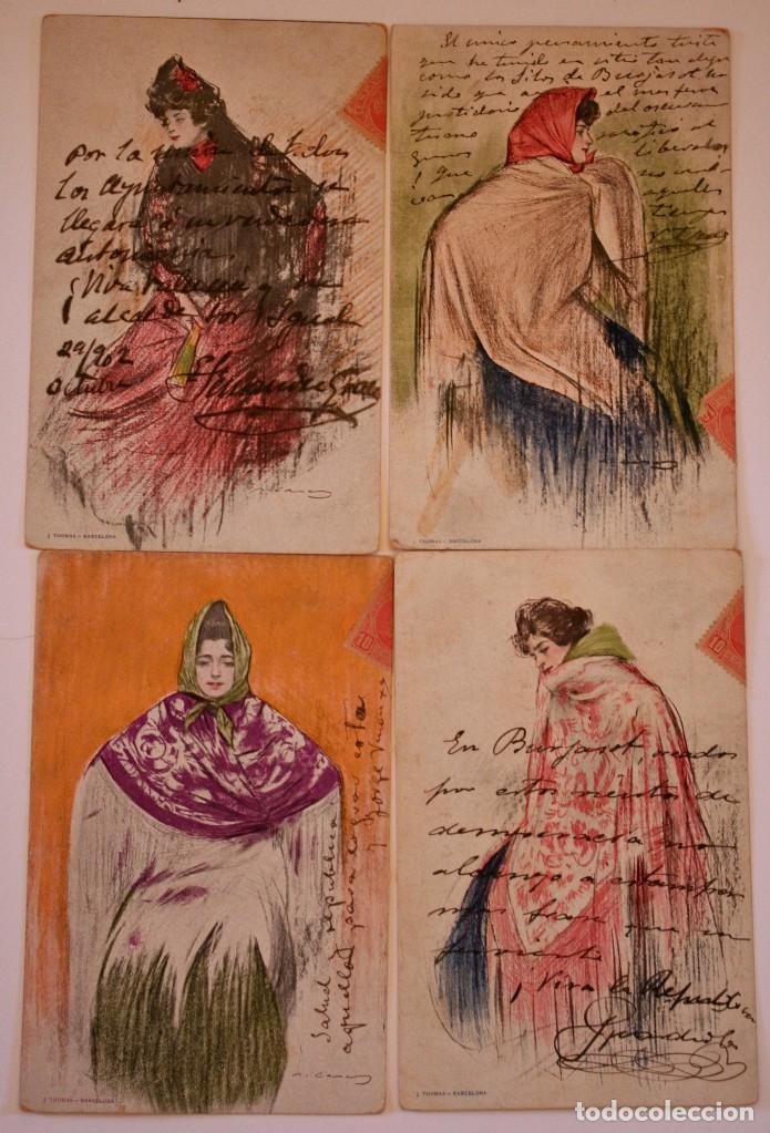 Postales de Ramón Casas de la serie Manolas