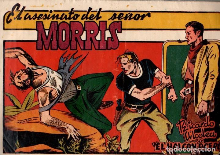 EL ASESINATO DEL SEÑOR MORRIS. RICARDO ALCOLEA. EL HALCON DE ACERO. Nº 7. EDITORIAL AMELLER. AÑOS 40 (Tebeos y Comics - Ameller)