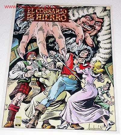 POSTER DE EL CORSARIO DE HIERRO, ILUSTRADO POR AMBROS. EDICIONES B, 1988. (Tebeos y Comics - Bruguera - Corsario de Hierro)