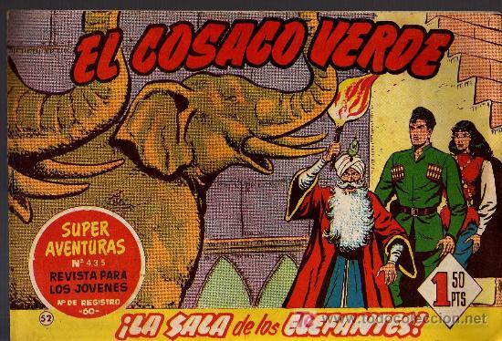 EL COSACO VERDE Nº 52 - MORA/COSTA - EDITORIAL BRUGUERA 1960/61 - ORIGINAL, NO FACSIMIL (Tebeos y Comics - Bruguera - Cosaco Verde)