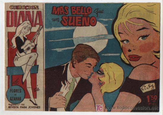 COLECCIÓN DIANA DE FLORES DE AZAHAR. MÁS BELLO QUE UN SUEÑO. (Nº 2). CREO 1960 (Tebeos y Comics - Bruguera - Din Dan)