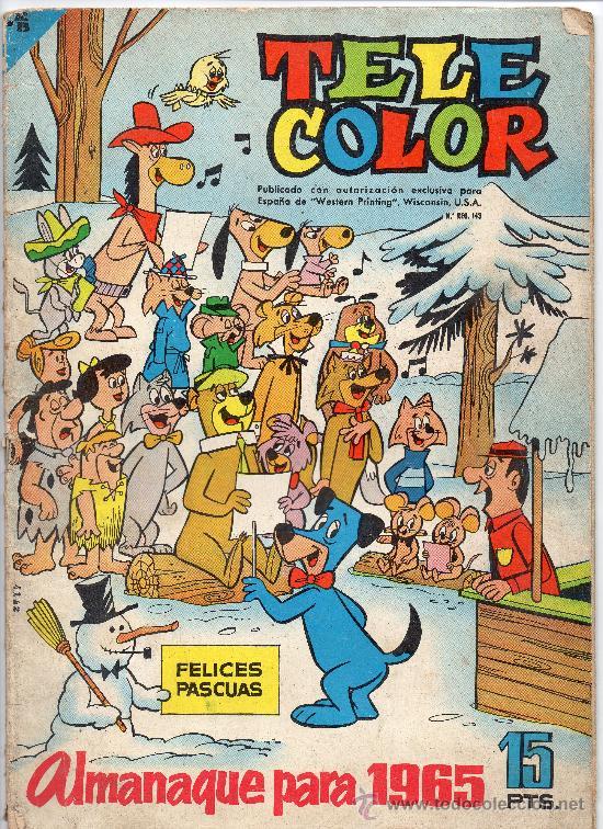 (M-0) TELE COLOR ALMANAQUE PARA 1965 , EDT BRUGUERA, PORTADA CON ROTURITAS (Tebeos y Comics - Bruguera - Tele Color)