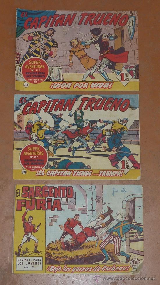 LOTE DE 3 COMICS ANTIGUOS. EL CAPITAN TRUENO Y EL SARGENTO FURIA. (Tebeos y Comics - Bruguera - Capitán Trueno)