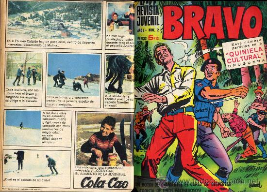 BRAVO REVISTA JUVENIL DEL Nº1 AL 40 -AÑO 1968-BRUGUERA-2 TOMOS MUY BIEN ENCUADERNADOS CAJA 188 (Tebeos y Comics - Bruguera - Bravo)