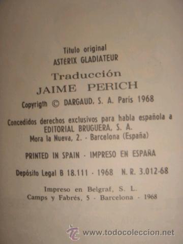Tebeos: ASTERIX Y OBELIX, ASTERIX GLADIADOR, EDITORIAL BRUGUERA, 1ª EDICIÓN AÑO 1968, - Foto 4 - 31099653