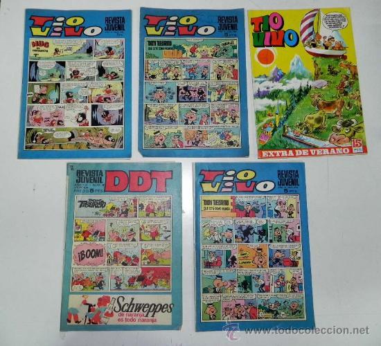 LOTE DE 4 TIO VIVO Y 1 DDT, TIO VIVO EXTRA DE VERANO DE 1969, TIO VIVO AÑO XI NUM. 398, AÑO XI NUM. (Tebeos y Comics - Bruguera - Tio Vivo)