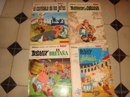 LOTE 4 AXTERIX EL COMBATE DE LOS JEFES, GLADIADOR, EN CORCEGA Y EN BRETAÑA , AÑO 66/69, (Tebeos y Comics - Bruguera - Otros)