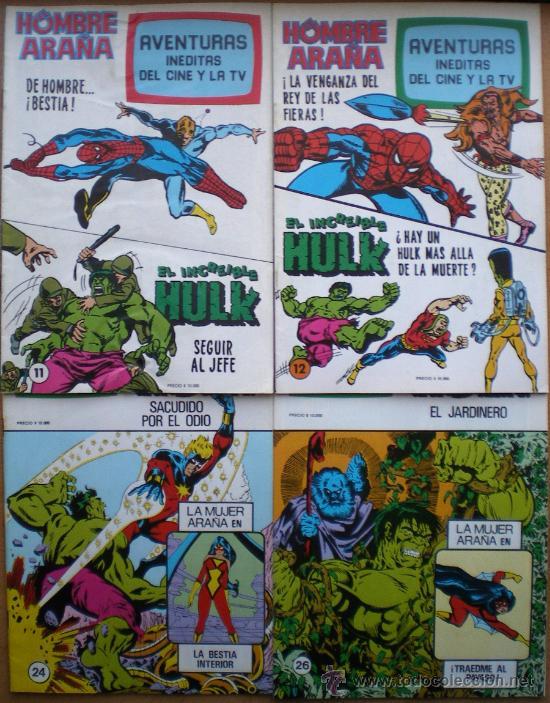 SPIDERMAN-EL HOMBRE Y LA MUJER ARAÑA-HULK-AVENTURAS CINE- TV 7 NUEVOS-10-11-12-24-25-26-27 AÑOS 80 (Tebeos y Comics - Bruguera - Otros)