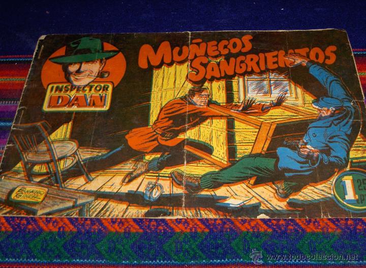 INSPECTOR DAN Nº 1 ORIGINAL. BRUGUERA 1,25 PTS. MUÑECOS SANGRIENTOS. MUY DIFÍCIL. REGALO Nº 13. (Tebeos y Comics - Bruguera - Inspector Dan)