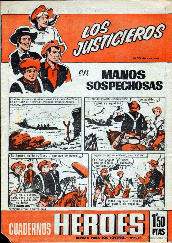 TEBEOS-COMICS GOYO - CUADERNOS HEROES 6 - ULTIMO - LOS JUSTICIEROS - 1964 *UU99 (Tebeos y Comics - Bruguera - Cuadernillos Varios)