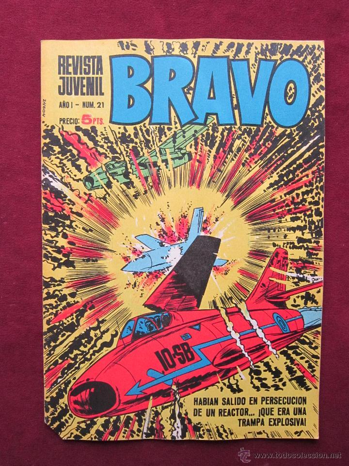 REVISTA JUVENIL BRAVO. AÑO I - Nº 21. MICHEL TANGUY, GRAND PRIX, BLUEBERRY. TEBENI BRUGUERA. MBE (Tebeos y Comics - Bruguera - Bravo)