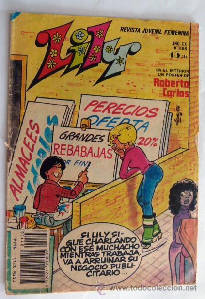 LILY Nº 1108 POSTER CENTRAL DE ROBERTO CARLOS (Tebeos y Comics - Bruguera - Lily)