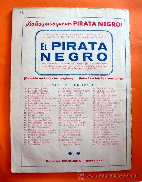 Tebeos: EL PIRATA NEGRO - Nº 72 - LA DAMA DEL MESON - POR ARNALDO VISCONTI - EDITORIAL BRUGUERA - - Foto 2 - 47564830