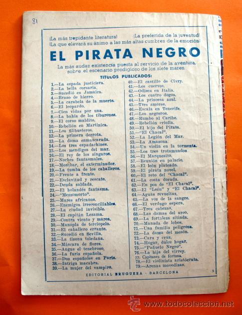 Tebeos: EL PIRATA NEGRO - Nº 81 - EL LINCE DESORIENTADO - POR ARNALDO VISCONTI - EDITORIAL BRUGUERA - - Foto 2 - 47564959