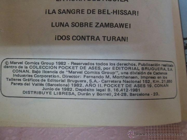 Tebeos: CONAN NÚMERO 19 POCKET DE ASES EDITORIAL BRUGUERA - Foto 3 - 49335340