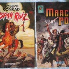 Tebeos: COMIC CLÁSICOS JOYAS LITERARIAS GASPAR RUIZ-JOSEPH CONRAD-MARCO POLO BRUGUERA NUEVOS 1985. Lote 204770686