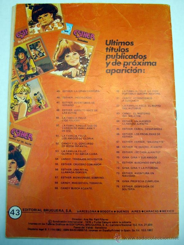 Tebeos: JOYAS LITERARIAS JUVENILES. ESTHER. SERIE AZUL. Nº43. PATINADORA. BRUGUERA 2ª EDI. 1982 - Foto 2 - 54774089