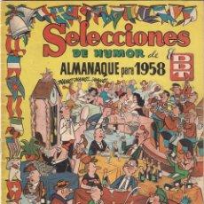 Tebeos: SELECCIONES DE HUMOR DE EL DDT . ALMANAQUE DE 1958. Lote 59774520