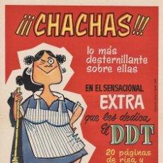 CARTEL PUBLICITARIO DEL EXTRA DE DDT DEDICADO A LAS CHACHAS (BRUGUERA, 1960)