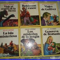 Tebeos: 6 TOMOS MINI HISTORIAS BRUGUERA GULLIVER CROUSOE JULIO VERNE... . Lote 94076480