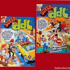 Tebeos: SUPER DDT - LOTE DOS COMIC; Nº 1 Y 2- EDIT. BRUGUERA - AÑO 1973, ORIGINALES, DIFÍCILES, BUEN ESTADO.. Lote 100401399