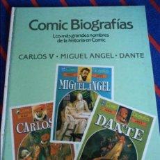 Tebeos: COMIC BIOGRAFIAS. Nº 1. LOS MAS GRANDES NOMBRES DE LA HISTORIA EN COMIC. CARLOS V. MIGUEL ANGEL. DAN. Lote 100747135