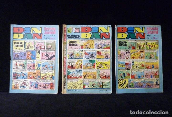 LOTE 3 NÚMEROS DIN DAN, II ÉPOCA. BRUGUERA, 1968-69 (Tebeos y Comics - Bruguera - Din Dan)