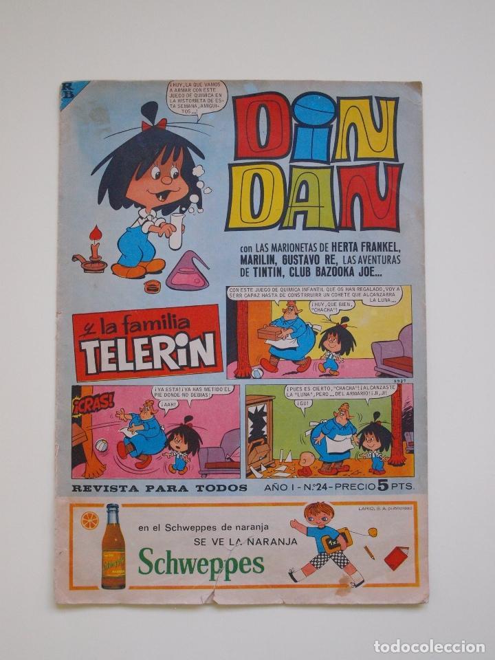 DIN DAN Nº 24 - AÑO I - REVISTA PARA TODOS - PRIMERA EPOCA - EDITORIAL BRUGUERA 1965 - TIN TIN (Tebeos y Comics - Bruguera - Din Dan)