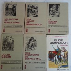 Tebeos: HISTORIAS SELECCIÓN 6 LIBROS - EL CID - MARCO POLO - LA FLECHA NEGRA - BUFFALO BILL ETC. Lote 126136907