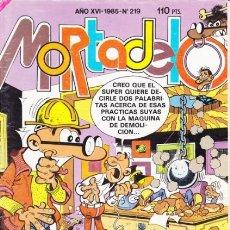 Tebeos: MORTADELO -EX-SUPER- Nº 219 -1985-NUEVO CARPANTA-ESCOBAR-ÚLTIMO IZONOGUD-LOS ALCORCÓN-ESCASO-9121. Lote 128583382