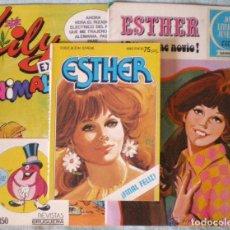 Tebeos: LOTE 3 COMICS ESTHER JOYAS LITERARIAS 9 JUVENIL 18 LILY EXTRA 80 PURITA CAMPOS-NUEVOS. Lote 128598871