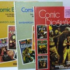 Tebeos: LOTE COMIC BIOGRAFÍAS 3 TOMOS BRUGUERA,1983. NÚMEROS 2, 3 ,? CUENTOS LIBRO. Lote 128684435