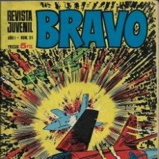 Tebeos: SEMANARIO BRAVO - AÑO I Nº 21 - BRUGUERA 1968 - CON GALAX, MICHEL TANGUY, BLUEBERRY, ETC- - BIEN. Lote 132510114