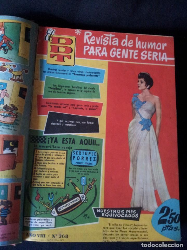 Tebeos: REVISTA EL DDT - TOMO ENCUADERNADO - AÑO VII (Nº 367) Y AÑO VIII (Nº 368 AL 399) + ALMANAQUE 1959 - Foto 2 - 145609642